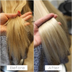 Blonde hair coloured and treated with Olaplex before and after, Ottawa Salon Olaplex