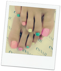 Pastel coloured pedicure, Mahogany Salon and Spa Ottawa