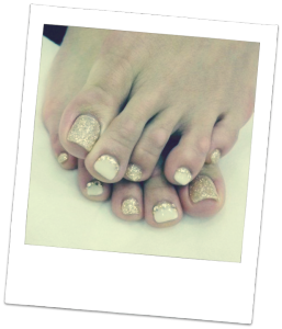 Sparkly gold and white pedicure Mahogany Salon and Spa Ottawa
