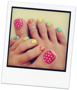 Pretty colourful polka dot pedicure mahogany salon and spa ottawa